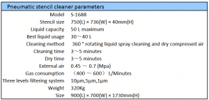 Pneumatic stencil cleaner_Specifications